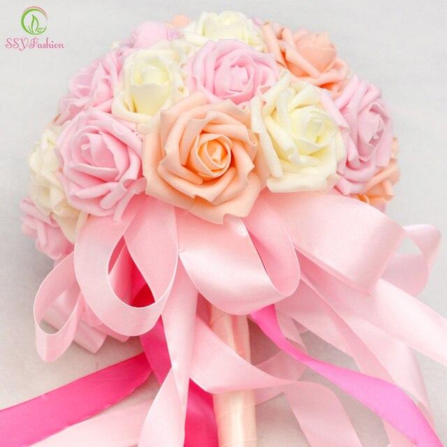 Ssyfashion Princesse De Mariee Tenant Une Fleur Romantique Rose Rose