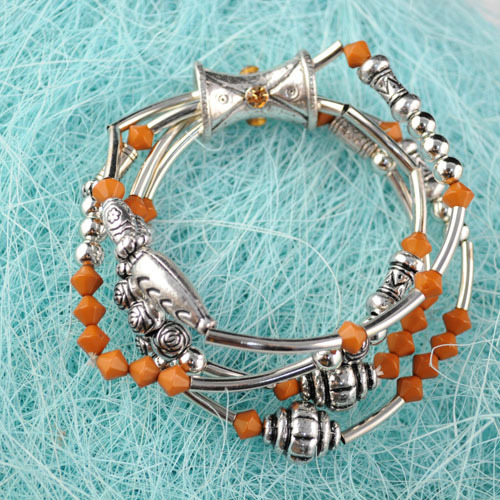 Vintage bangles Woman Fashion brown beads multi layers elestic size Jewellery charms beaded Bracelet BR-556B