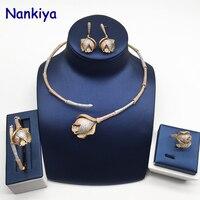Nankiya Luxury Bamboo Knot Rose Flower Africa Jewelry Set Clear CZ 3 Tone Gold Women Party Dubai 4pcs Jewellery Set NC739