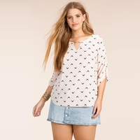 Kobiety Plus Size Surfbird Zwierząt Drukowane Bluzka Szyfon Trzy Czwarte Rękaw Koszulka 3XL 4XL 5XL 6XL