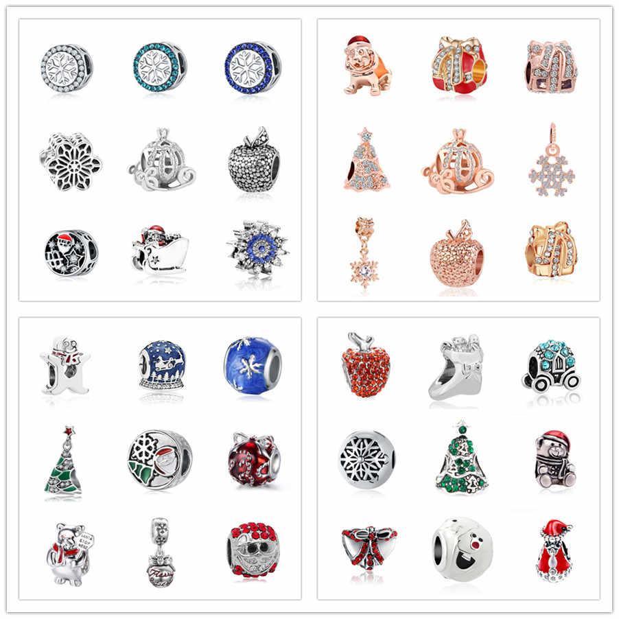 Бесплатная доставка 1 шт. Европейская рождественскя Подарочная Снежинка Дерево Санта Клаус бусина-медведь подходит Пандора Шарм Браслеты S003