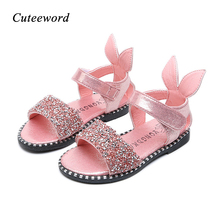 Summer New Toddler Girls Sandals Roman Children Shoes Fashion Rabbit Ears Sequins Princess Non-slip Kids Beach
