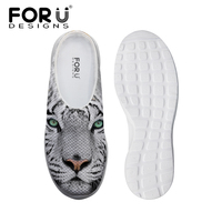 FORUDESIGNS Fashion Summer Women S Sandals Casual Slip On Breathable Mesh Shoes 3D Animal White Tiger
