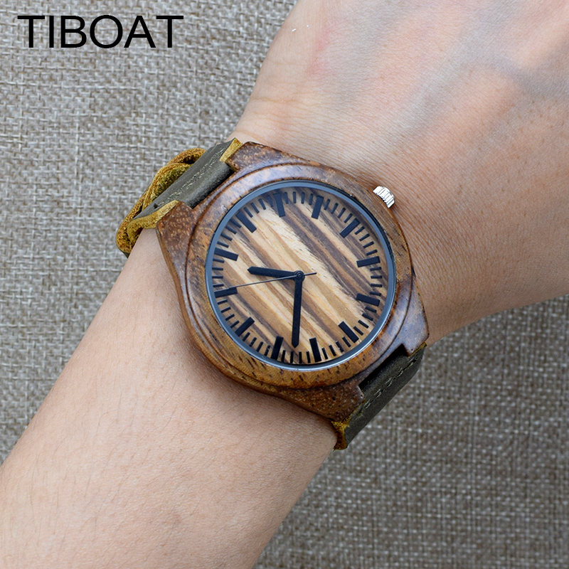 TIBOAT Natural Wood Simple Style Watch Men Genuine Leatehr Casual Bamboo Watch Handmade Wooden Quartz Wristwatch Women Gift classic style natural bamboo wood watches analog ladies womens quartz watch simple genuine leather relojes mujer marca de lujo