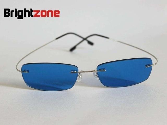 08e4c2cf9ea  6  Brightzone Rimless Memory Titanium Silver Blue Color Tinted  Prescription Sunglasses for Myopia   Presbyopia Free Shipping