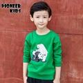 Pioneer crianças 2016 novos outono/inverno projeto 100% algodão camisa dos miúdos t crianças suportar t-shirt de manga comprida criança meninos roupas