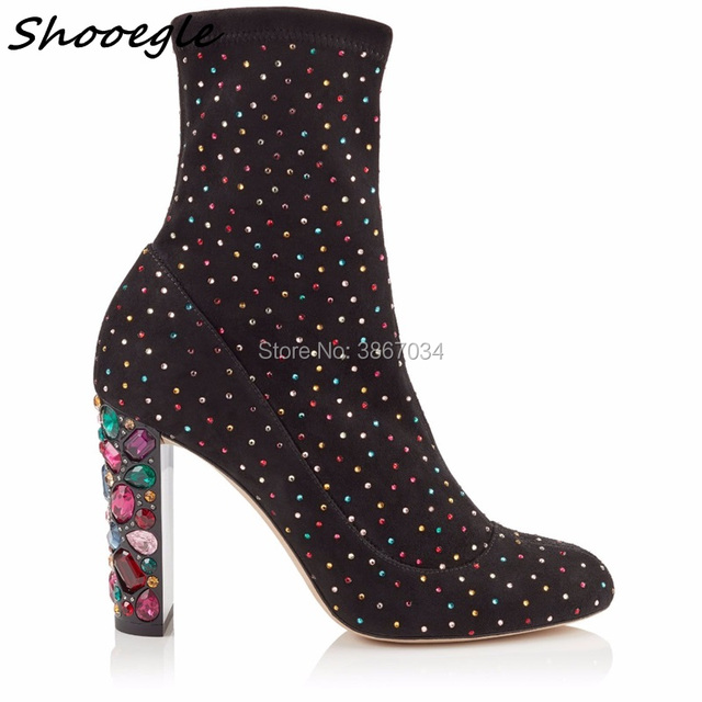 SHOOEGLE 2018 Spring Brand New Luxurious Designer Shoes Women Boots Crystal  Heel Chunky High Heel Ankle Boots Celebrity Style 022a4ea3663f