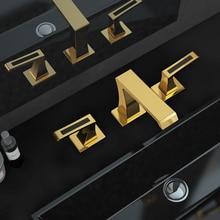 """TI-PVD золото """" широкое керамика клапан три отверстия 3 шт. ванная раковина для туалета кран смесителя бортике"""