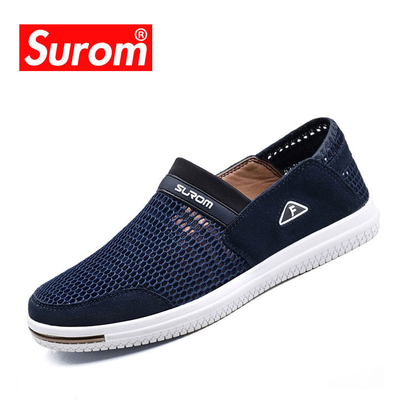 SUROM Summer Men Casual Shoes Slip-On Super Light Breathable Mesh - Men's Shoes