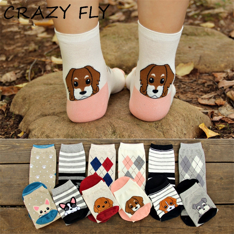 Crazy Fly 2019 Frühling Frauen Mode Hund Muster Baumwolle Socken Niedlichen Cartoon Mops Bulldogge Lustige Socken Meias
