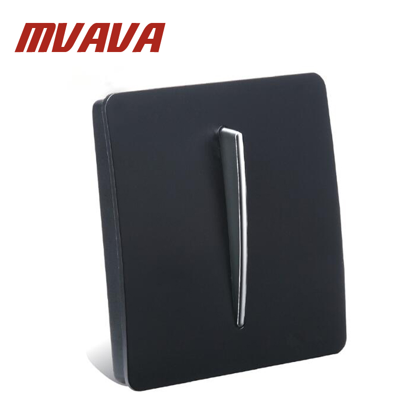 цена на MVAVA Hot Sale Wholesaler Luxury PC Series Wall Light Switch Panel Black PC Design 110~250V 1 Gang 2 Way Push Button Switch