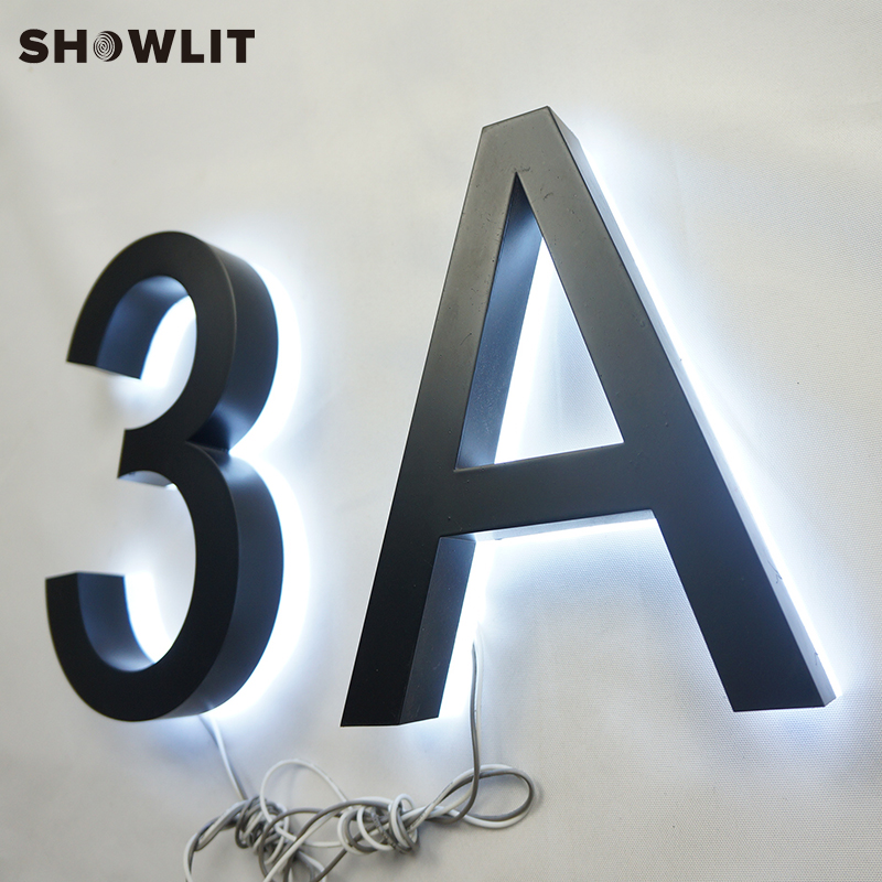 SHOWLIT 8 Outward Backlit House Numbers Waterproof Brushed Stainless Steel Finish LED Door Numbers Custom Available Address Numbers Made in China