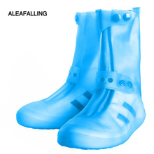 Aleafalling Women PVC Integral Mould Waterproof Reusable Rain Shoes Covers Rain Boot Anti-skid High Outdoor Shoes Covers SC35