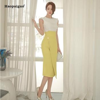 Two Piece Set Women Suit 2018 Summer Sleeveless Blouse Shirt Tops and Split Slim Skirt Crop Top and Skirt Set 2 Piece Set Women marled knit crop top with split skirt