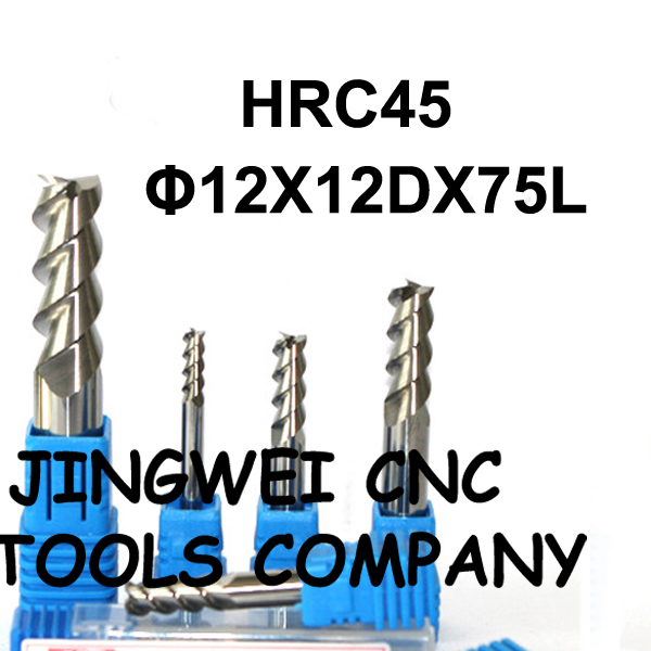 HRC 45 Carbide end mill for aluminum12X75mm standard length end mill for copper