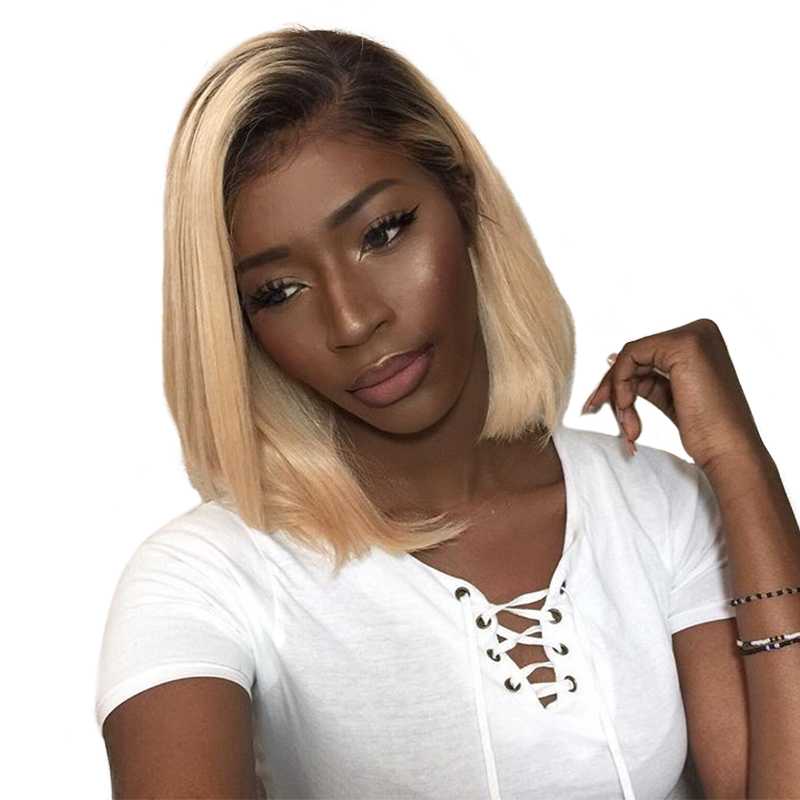 1b 613 Ombre Human Hair Wig Honey Blonde Lace Front Short Cut Bob Wigs Brazilian Straight