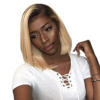 1b/613 Омбре человеческих волос парик медовый блонд кружева спереди короткий отрезок боб парики бразильские прямые бесклеевые полный парик