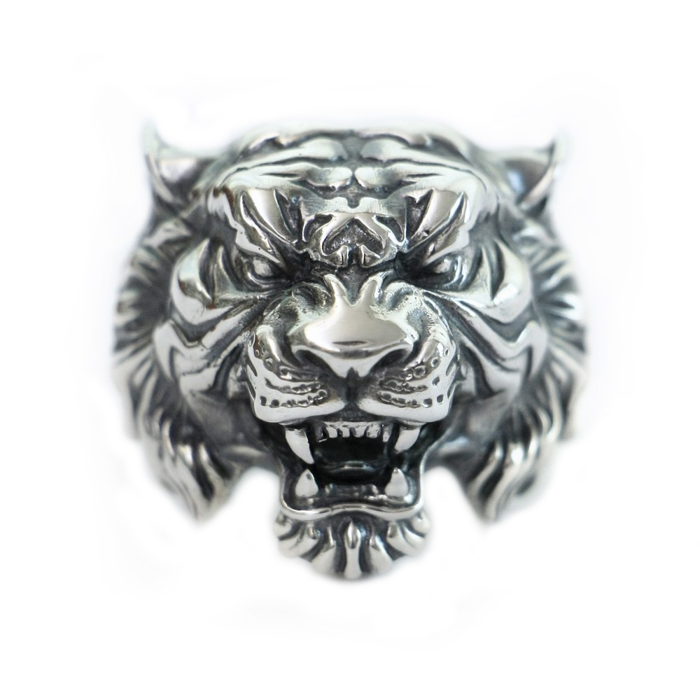 USA Located High Details Tiger Ring 925 Sterling Silver Mens Biker Punk Ring TA130 4PXUSA Located High Details Tiger Ring 925 Sterling Silver Mens Biker Punk Ring TA130 4PX