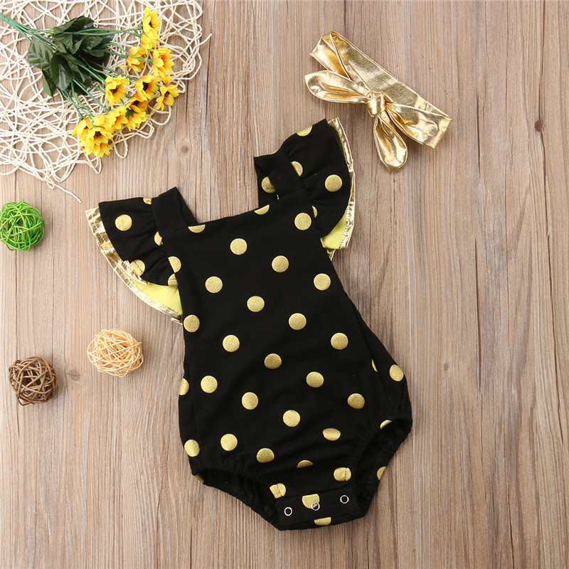 Newborn Baby Girls Clothes sleeveless Polka Dot Ruffle backless square collar Bodysuit Bow Headband 2pc cotton Toddler Outfits
