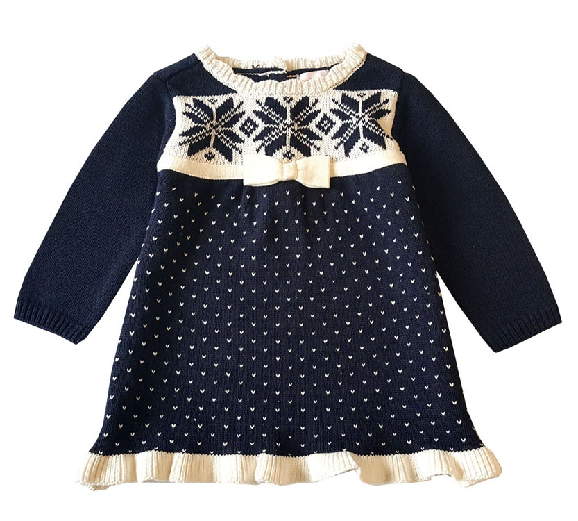 0-2T Newborn Fashion Winter Snowflake Sweater Dress for Toddler Girls Knitted Cotton Kids Baby Christmas Sweater Dress Clothes