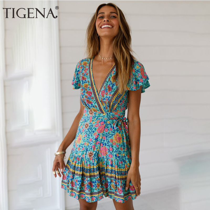 TIGENA <font><b>Sexy</b></font> Wrap Tunic <font><b>Beach</b></font> Summer <font><b>Dress</b></font> Women 2019 New <font><b>Floral</b></font> <font><b>Print</b></font> Bohemian <font><b>Boho</b></font> Mini <font><b>Short</b></font> Summer <font><b>Dress</b></font> and Sundress Female image