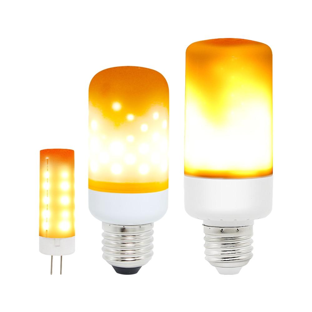 1pcs E27 / G4 LED Bulb Flickering Flame Effect Corn Light Emulation Fire Flicker Burning Decoration Lamp 85-265V 12V 1800-2200K