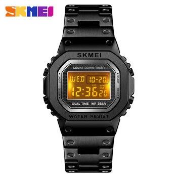 726cd9f420e SKMEI1456 hombres de negocios Las Mujeres Reloj de pulsera Digital de acero  inoxidable Casual Correa cuenta regresiva alarma 12 24 hora Reloj de Mujer