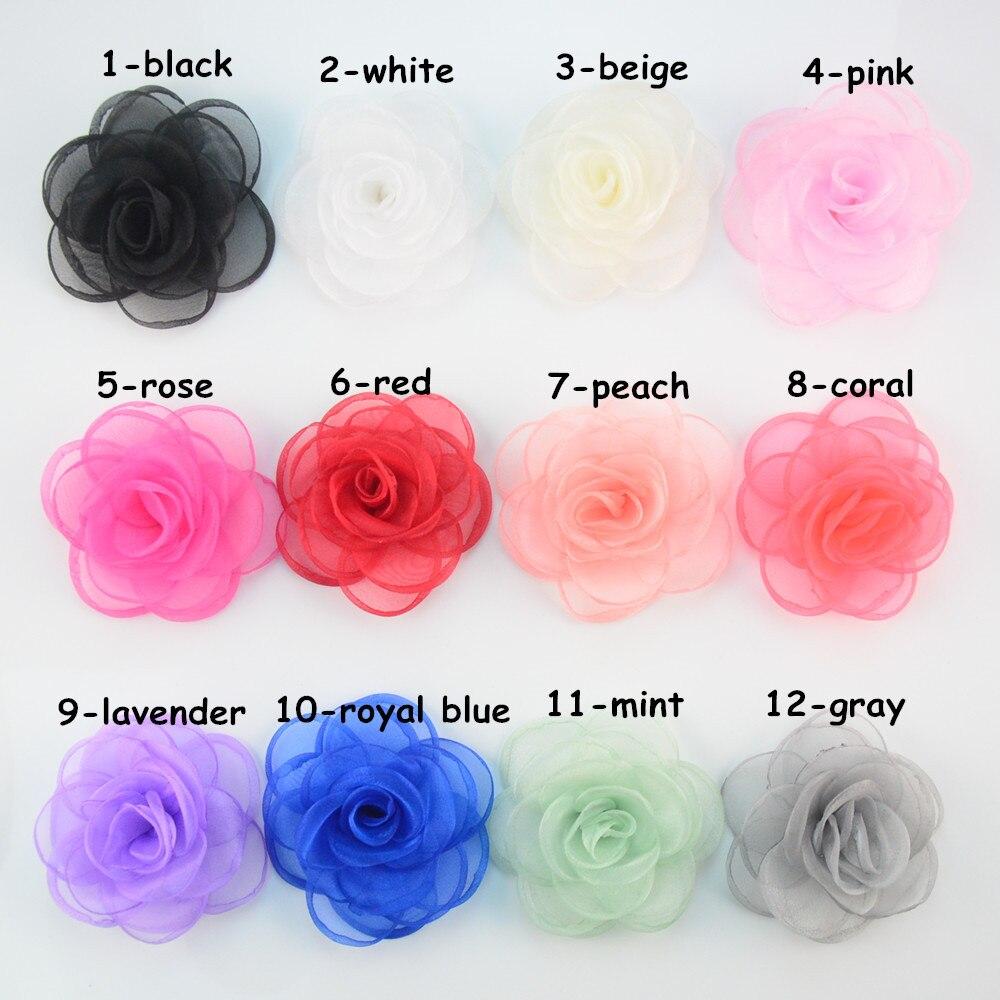 unidslote pulgadas organza rose flores quemado bordes de flores de tela para diy accesorios para el cabello diadema