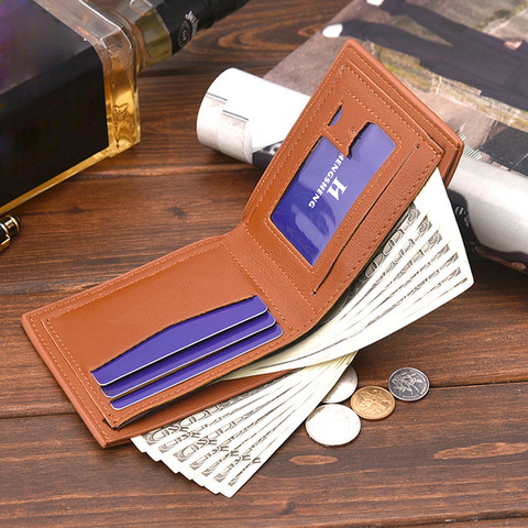 Hot Men Solid Color Vintage Open Lichee Pattern Multi Card Position Wallet Men Fashion Pure Short Wallets men wallets L*5 Islamabad