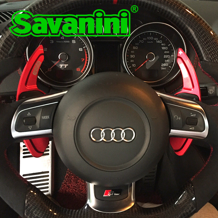 Savanini Aluminum Car Steering Wheel Shift Paddle Shifter Gear Extention For Audi A3/A4L/A5/Q3/Q5/TT/S3/R8 Car styling литье chi vietnam r8 18 19 a4l a6l a8l q5 r8 tt