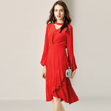 Vintage Dress Women Summer 2019 New Fashion V-Neck Flare Sleeves Slim Red French Ruffled Dress Elegant Over The Knees цена 2017