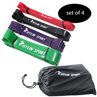 Set Of 4 Natural Latex 41 Strength Resistance Bands Loop Fitness Crossfit Power Lifting Pull Up
