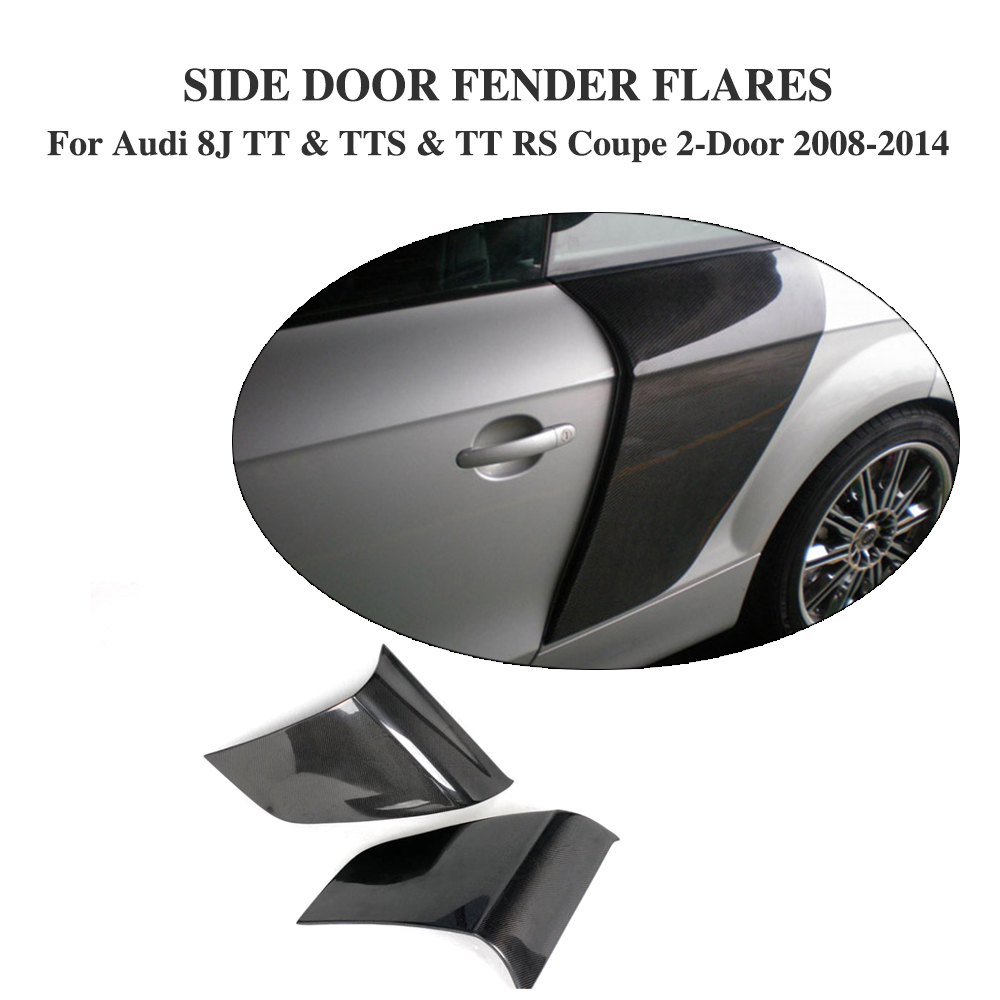 Carbon Fiber Side Door Blade Fender Door Guard Panel Trims For Audi 8J TT & TTS & TT RS Coupe 2-Door 2008-2014 2PCS/Set car styling carbon fiber side fender covers trim for nissan gtr base coupe 2008 2016