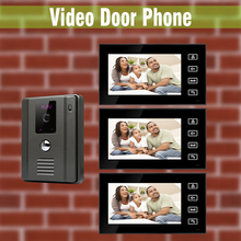 New video Intercom Doorbell System 7″ Touch Monitor Video Door Phone Intercom Kit night vision Camera 3 Screen + 1 Camera
