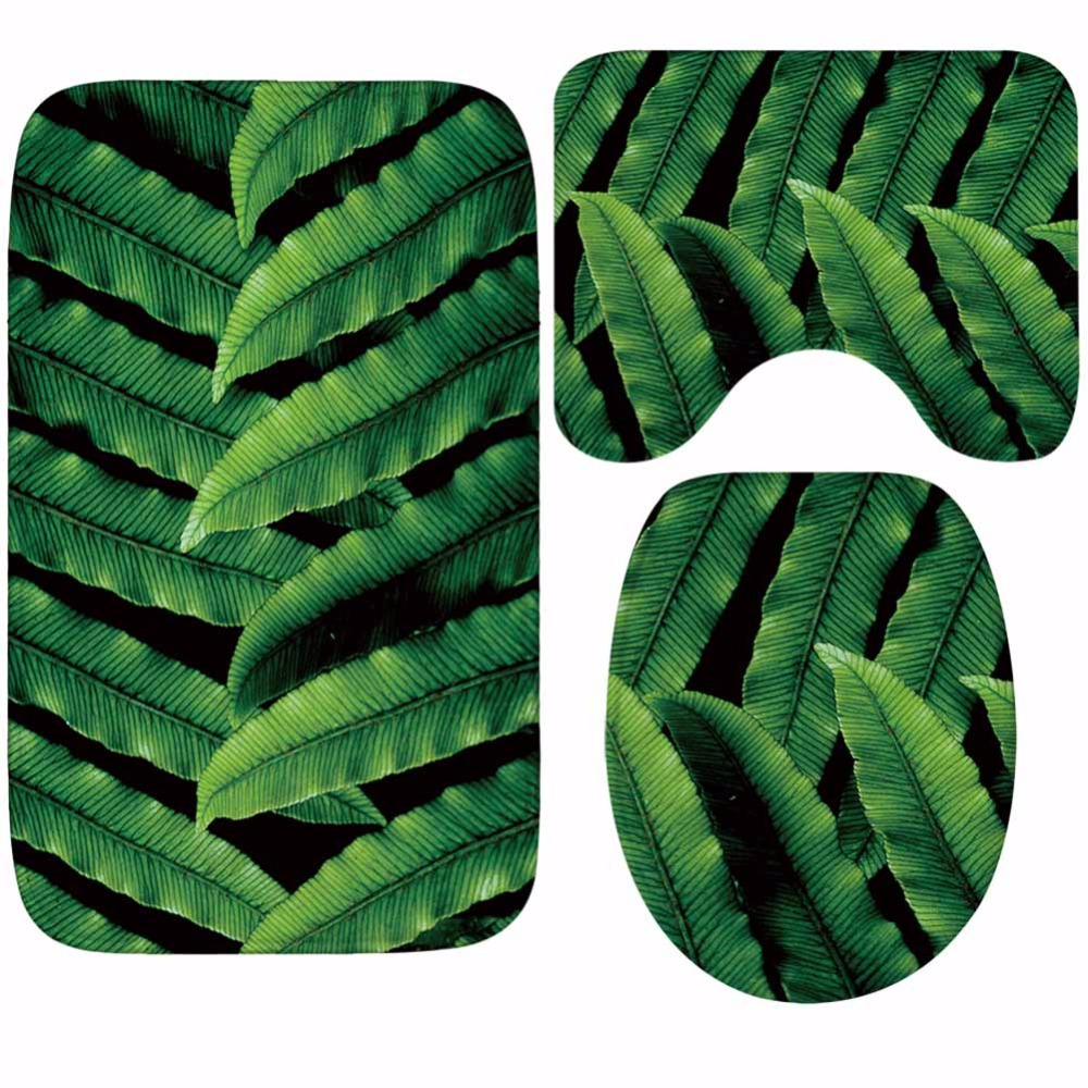 Image 5 - CAMMITEVER Toilet WC Non slip Carpet Creative Green Leaves Bathroom 3PCS Set Area Rugs 3D Leaf Home Hotel Decor Soft Pads-in Rug from Home & Garden