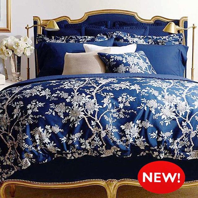 Us 144 99 Dark Blue Floral Bedding Set Duvet Cover Set White Flower Reactive Print Bedding Set Comforter Cover Set For Full Queen King 에서dark