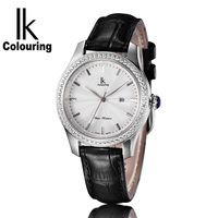 IK COLOURING New Simple Fashion Quartz Diamond Women Watch Leather Strap BayanSaat Luxury Calendar Ladies Watch
