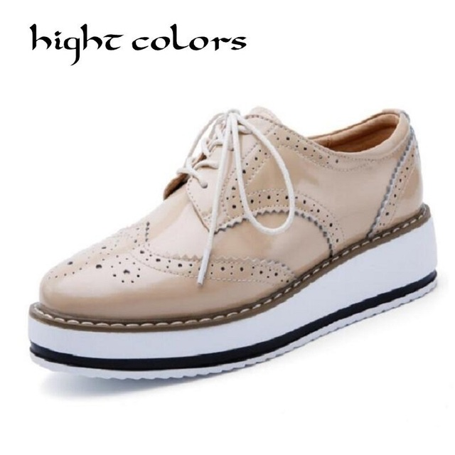 0daa0e1cacfa Brand Apricot Black Women Platform Shoes Woman Brogue Patent Leather Flats Lace  Up Footwear Flat Oxford Shoes For Women Size 40