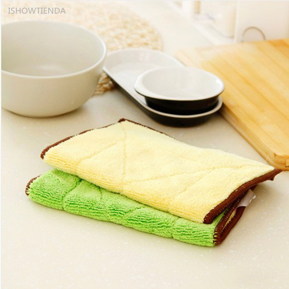 ISHOWTIENDA 1pc 29.5*17cm Mixed Color Microfiber Kitchen Tower Car Cleaning Towel Kitchen Washing Polishing Cloth Practical Use