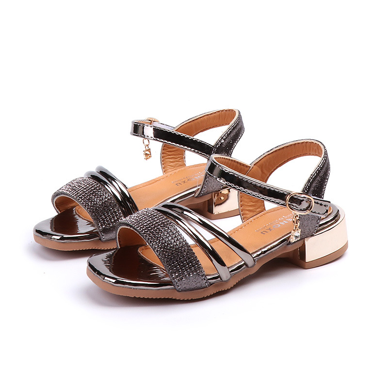 summer children sandals for girls Artificial leather high heel princess sandals girls pr ...