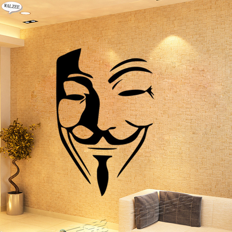 V for Vendetta Movie characters temporary decorative Vinyl Wall ...