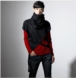 2017 Non-mainstream Men's Clothing Punk Style Batwing Sleeve Fashion Design Tshirt Mens Turtleneck Bat Loose T-shirt Top
