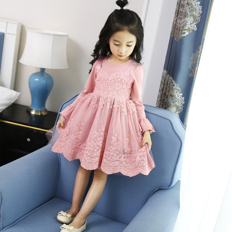 blue pink floral lace dress 2017 autumn girls long sleeve children princess dresses little girls clothes kids baby fall clothing high quality girls baby bright leaf long sleeve lace dress princess bud silk dresses children s clothing wholesale