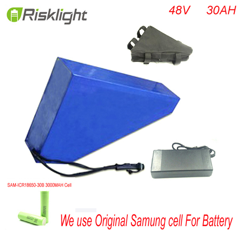 ebike battery 48v electric bicycle battery 48v 30ah 1000w  triangle electric bike lithium ion battery pack For Samusng CELL bottom discharge silver fish battery 51 8v e bike battery pack li ion ebike 52v 13ah akku for electric bicycle kit 1000w