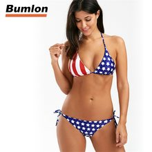 d62c3a9a08fd1 New American National Flag Bikinis Set Blue Stars Stripes US Flag Swimwear  Red Two-Pieces Swimsuit Bandage 2018 RL15-0009