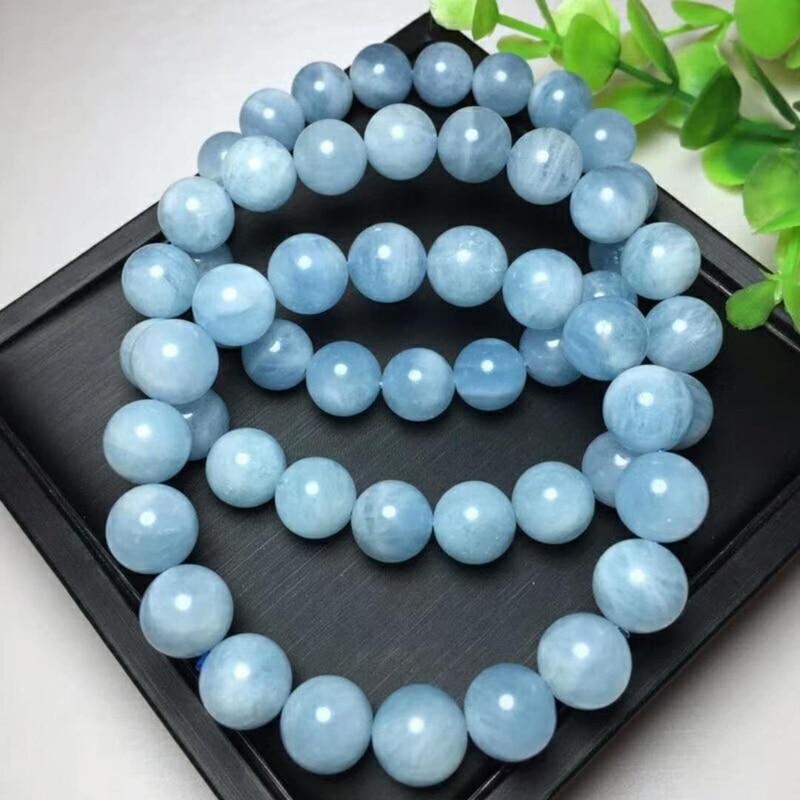 где купить KUIJIA Natural Aquamarin crystal 11 mm lady jewelry beaded bracelet по лучшей цене