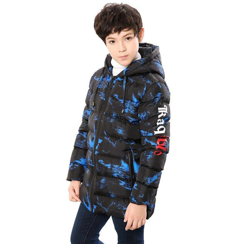 8-17 ans garçons hiver manteau rembourré veste d'extérieur pour la mode à capuche épais chaud enfants Camouflage Parkas pardessus 2018 nouveau