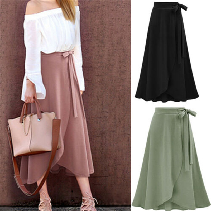 Size M To 6XL Plus Big Size Skirts Women Asymmetrical Sash Bow Casual Long Skirts Women High Waist Split Solid Black Pink Skirts image