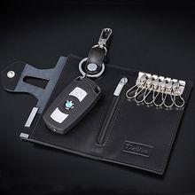 Men's Leather Bifold Car Key Wallet Key Holder Housekeeper Keys Case Coin Purse Keychain Billfold Clutch