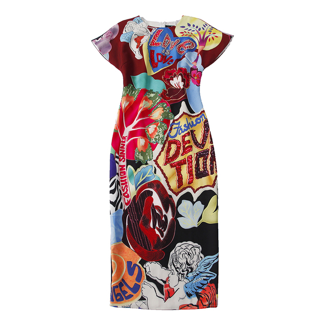 Women's Short Sleeve Gorgeous Crystal Letter Beading Printed Dress